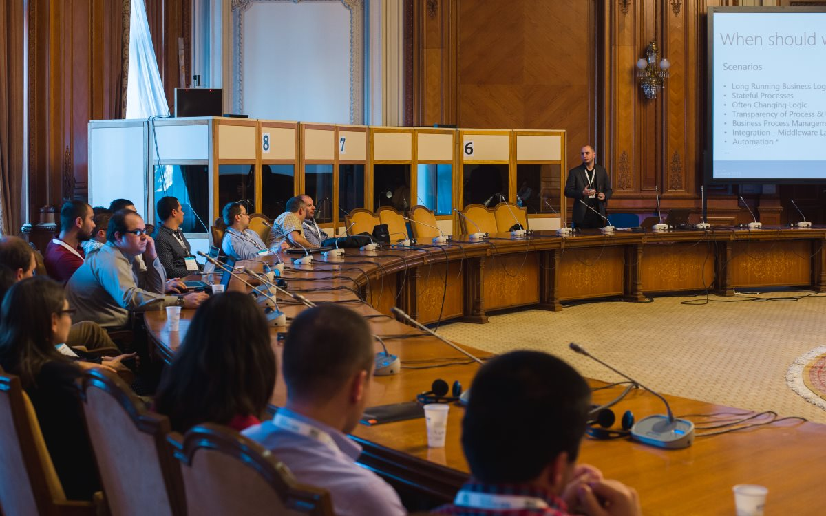 Andrei Oros presenting Windows Workflow Foundation at Microsoft Summit 2015