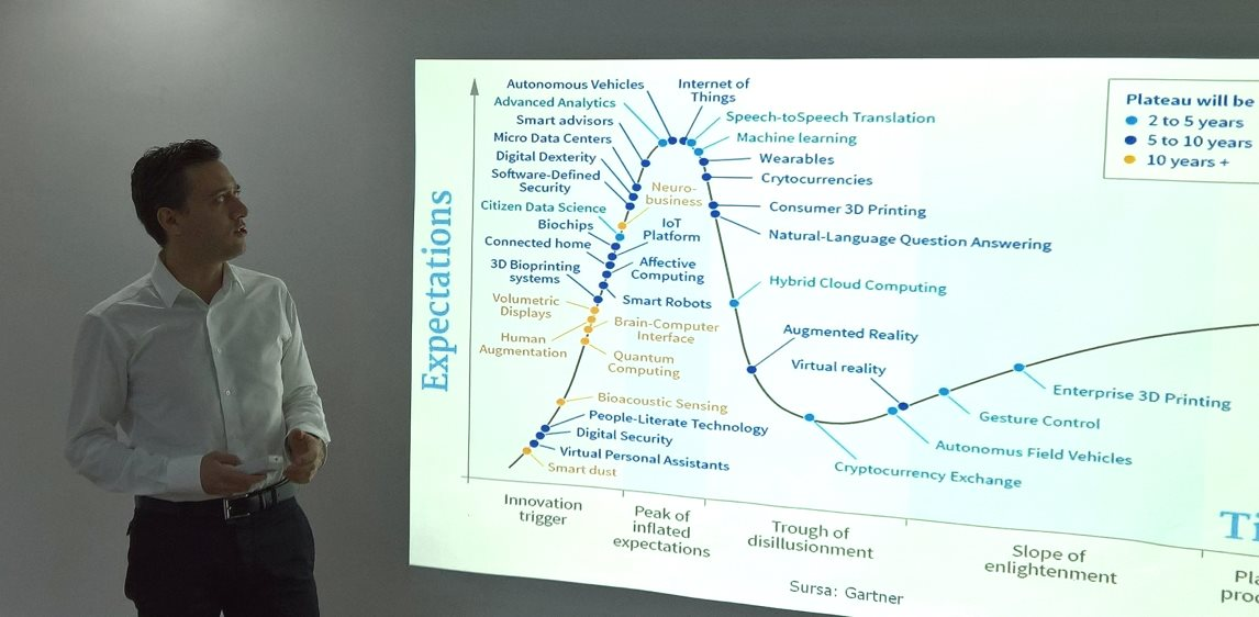 Alexandru Roja presenting The Impact of Technological Trends in Society and Economy