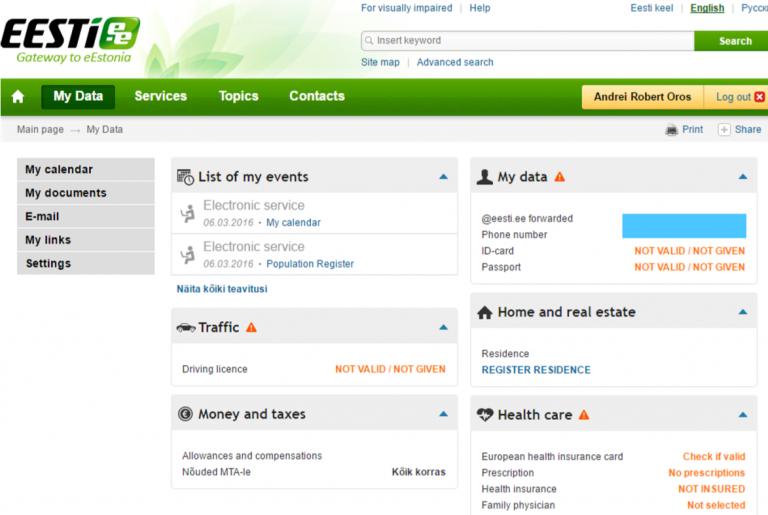 e-residency online dashboard