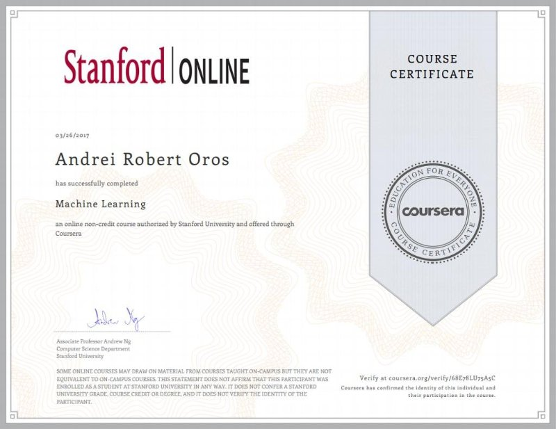 Machine Learning course by Andrew Ng from Stanford University