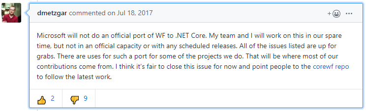 Workflow Foundation - no official migration to .Net Core by Microsoft